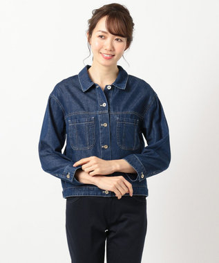 any SiS L 【洗える】シャツライク抜け ブルゾン ネイビー系