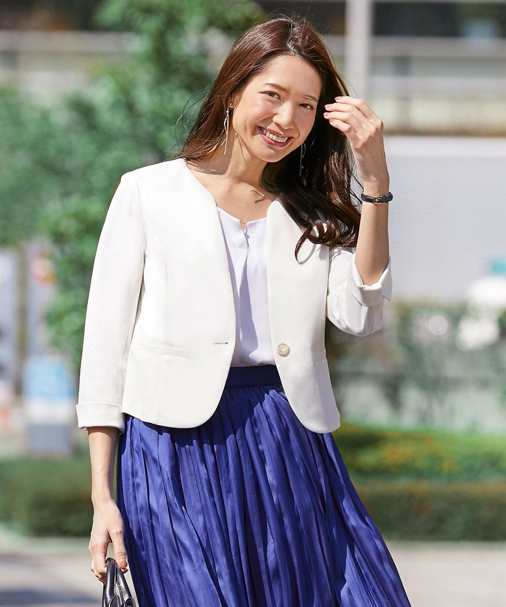 any SiS 【洗える】レディノーカラージャージー ジャケット ホワイト系