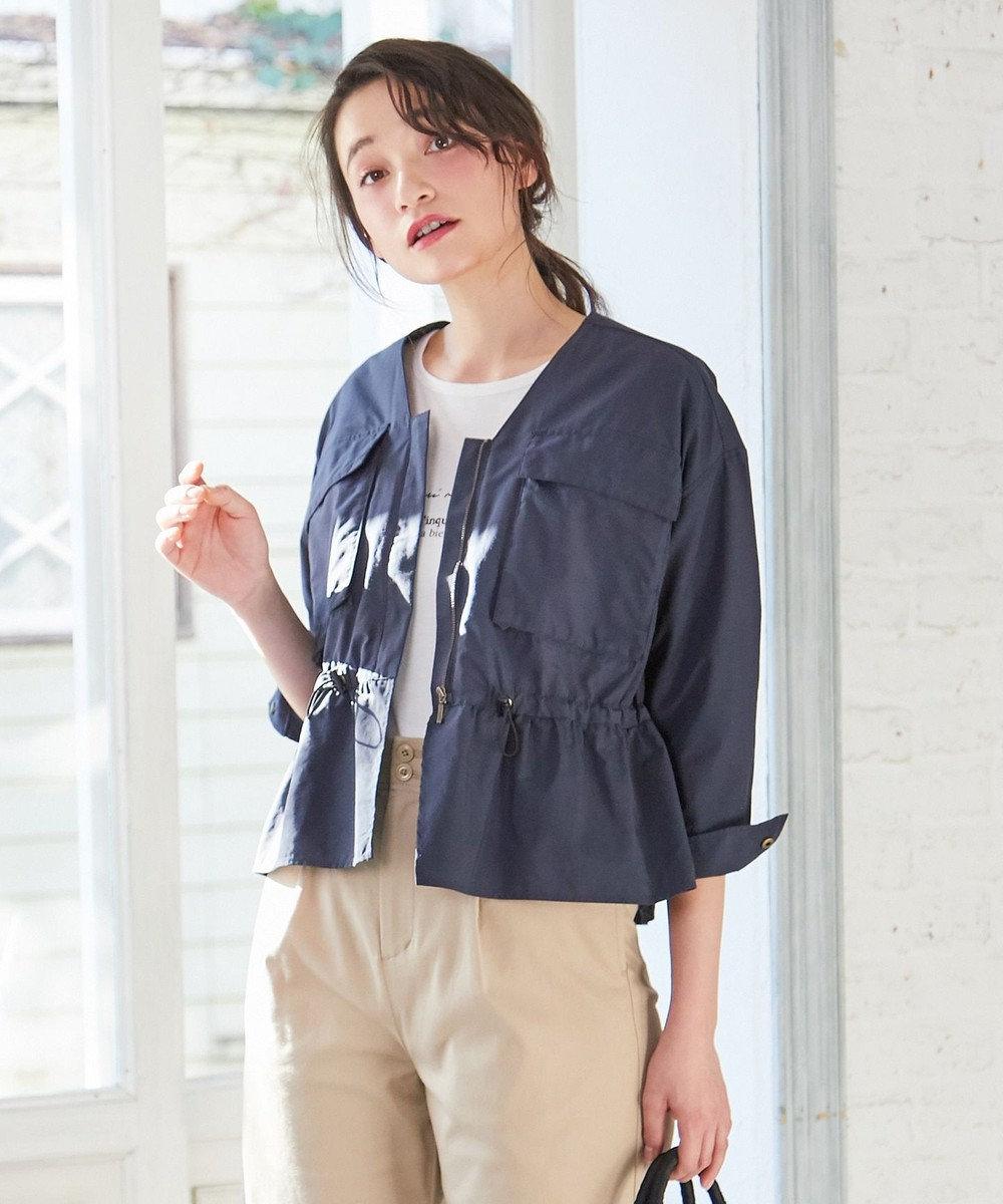 any SiS 【洗える】L'aube ノーカラーミリタリー ブルゾン ネイビー系