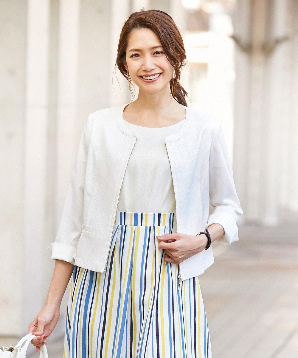 any SiS S 【洗える】レディシャンブレー ノーカラー ジャケット ホワイト系