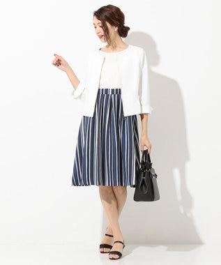 any SiS 【洗える】レディシャンブレー ノーカラー ジャケット ホワイト系