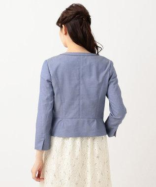 any SiS 【洗える】レディシャンブレー ノーカラー ジャケット ダルブルー系1