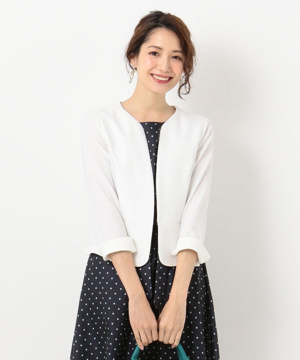 any SiS S 【洗える】ノーカラーライト ジャケット ホワイト系