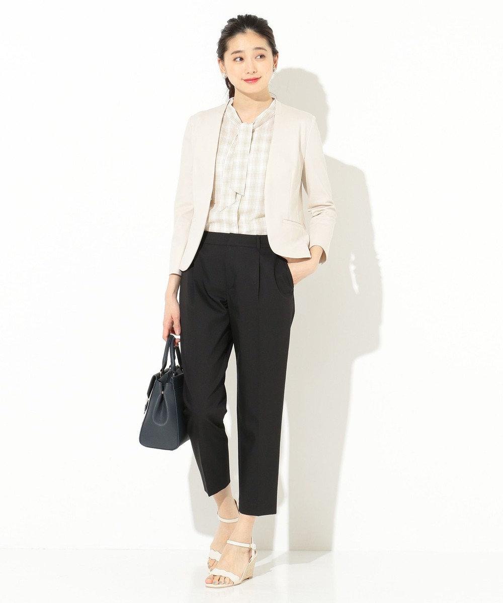 any SiS S 【洗える】ノーカラーエアリーポンチ ジャケット ベージュ系