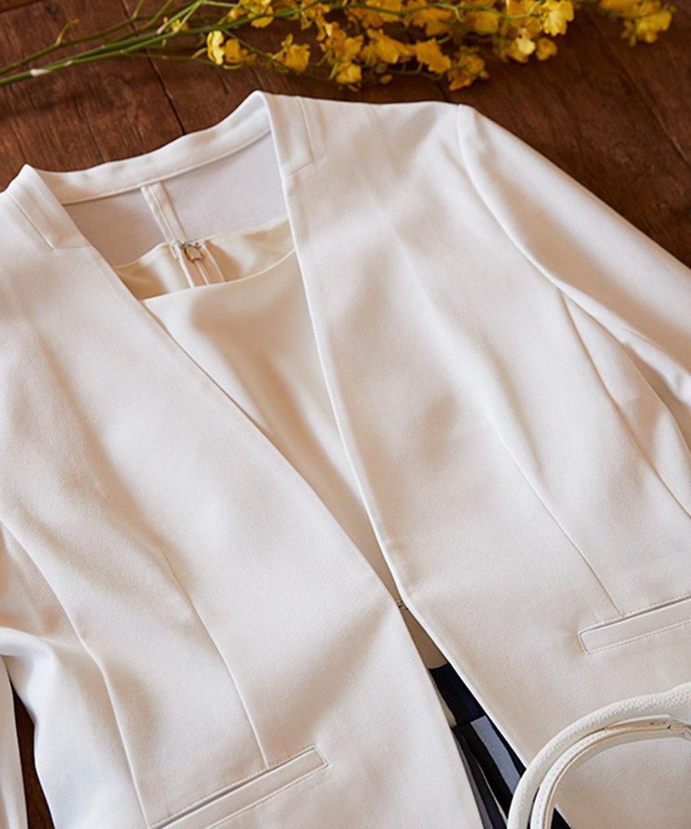 any SiS S 【洗える】ノーカラーエアリーポンチ ジャケット ホワイト系