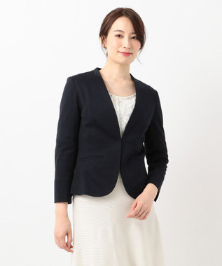 any SiS S 【洗える】ノーカラーエアリーポンチ ジャケット ネイビー系