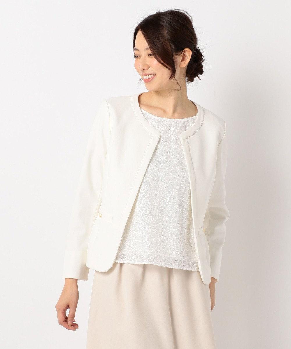 any SiS 【2点セット】フェミニン ノーカラージャケット セット ホワイト系