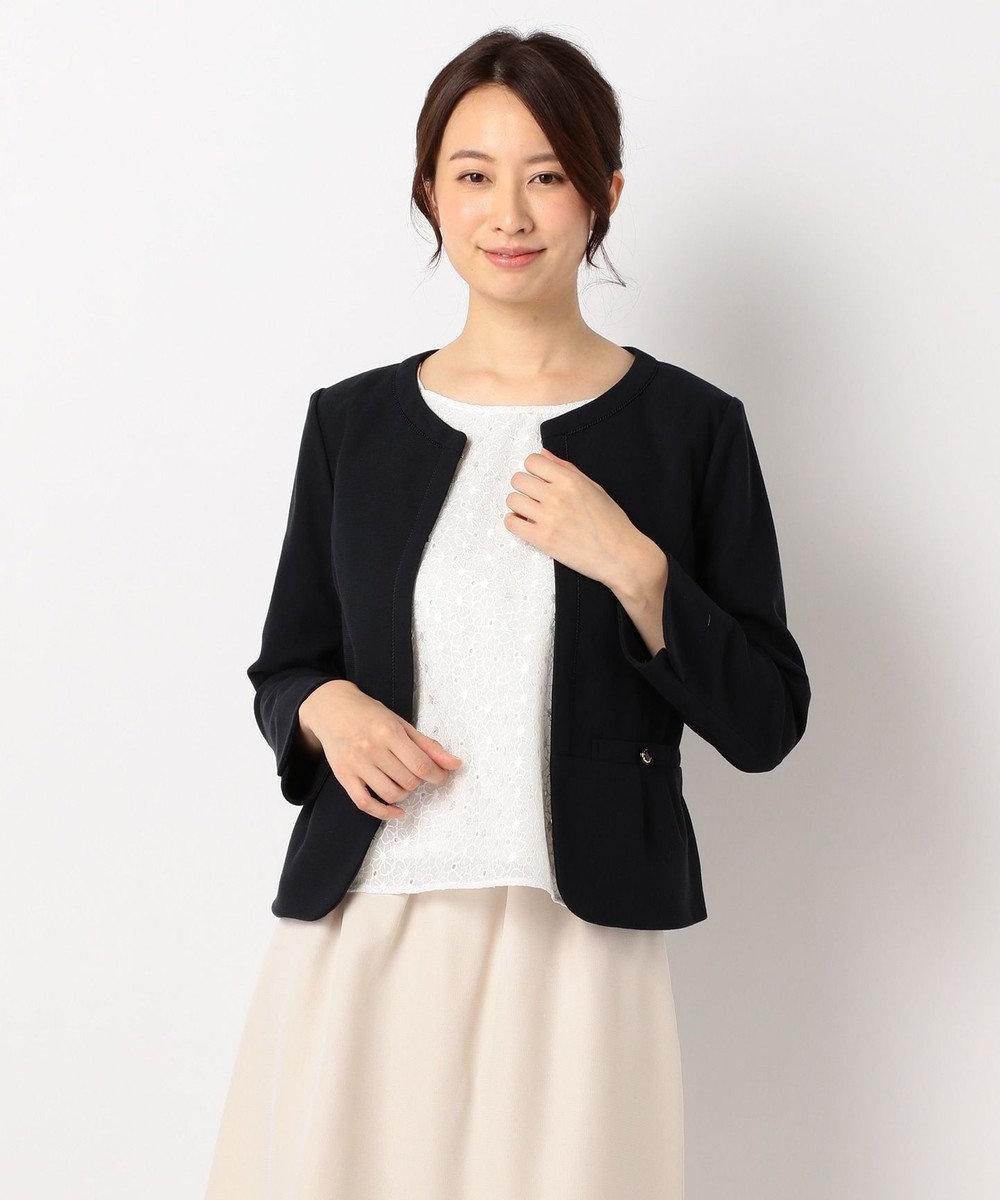 any SiS 【2点セット】フェミニン ノーカラージャケット セット ネイビー系