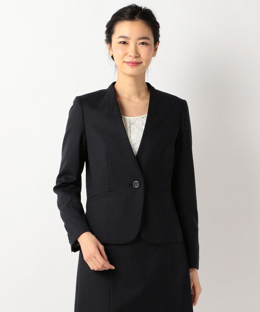 any SiS 【洗えるスーツ】ウォッシャブルT/Wスーツ ノーカラージャケット ネイビー系1