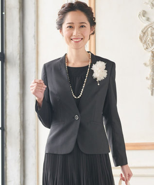 any SiS 【洗えるスーツ】ウォッシャブルT/Wスーツ ノーカラージャケット ブラック系
