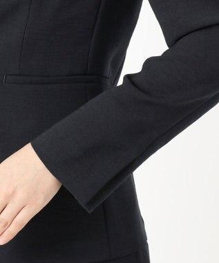 組曲 S 【イージーケア】リネンライクセットアップ カラーレスジャケット ネイビー系