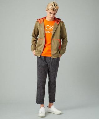 CK CALVIN KLEIN MEN 【洗える】ハイゲージシャンブレースキューバ ジップアップパーカー カーキ系