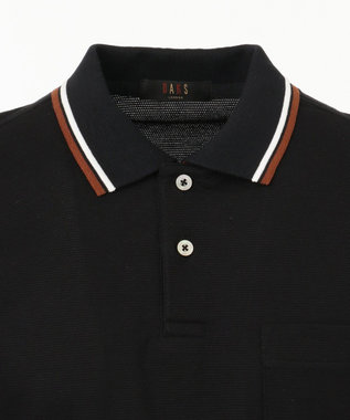 DAKS ピラミッドカノコ DAKSプリントリブ ポロシャツ ブラック系