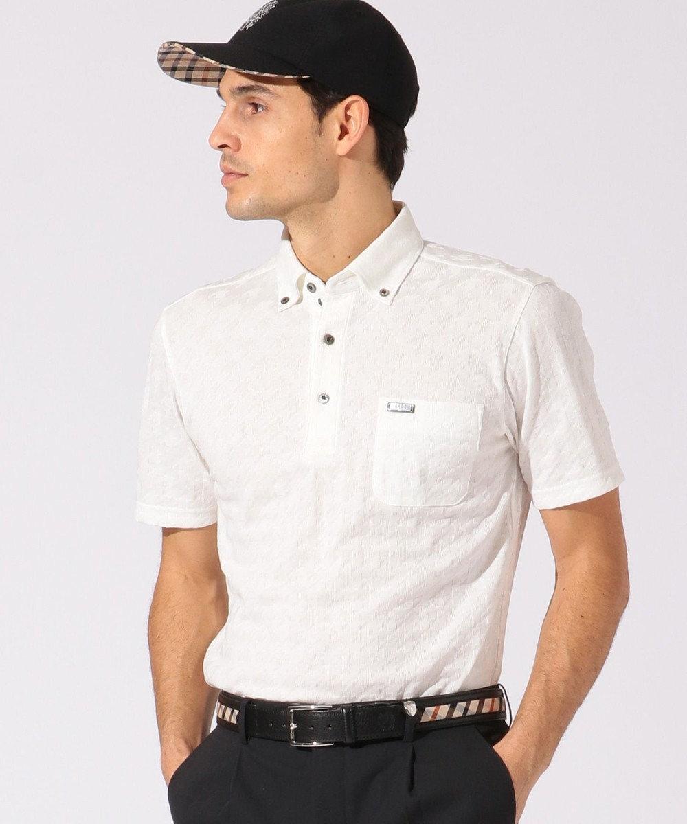 DAKS GOLF 【MEN】千鳥格子柄 ポロシャツ ホワイト系