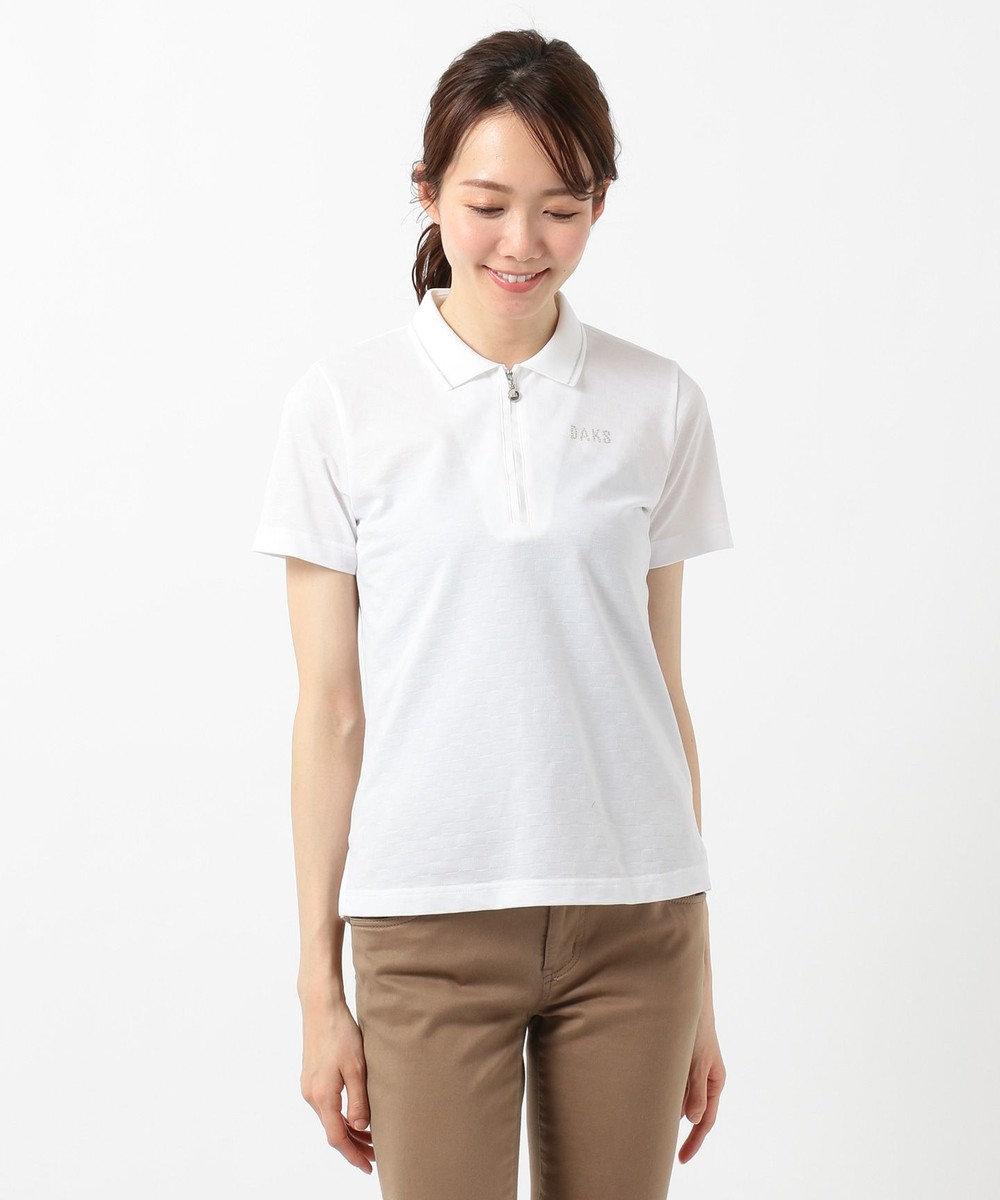 DAKS GOLF 【WOMEN】ラインストーンロゴ入り ジャガード ポロシャツ ホワイト系