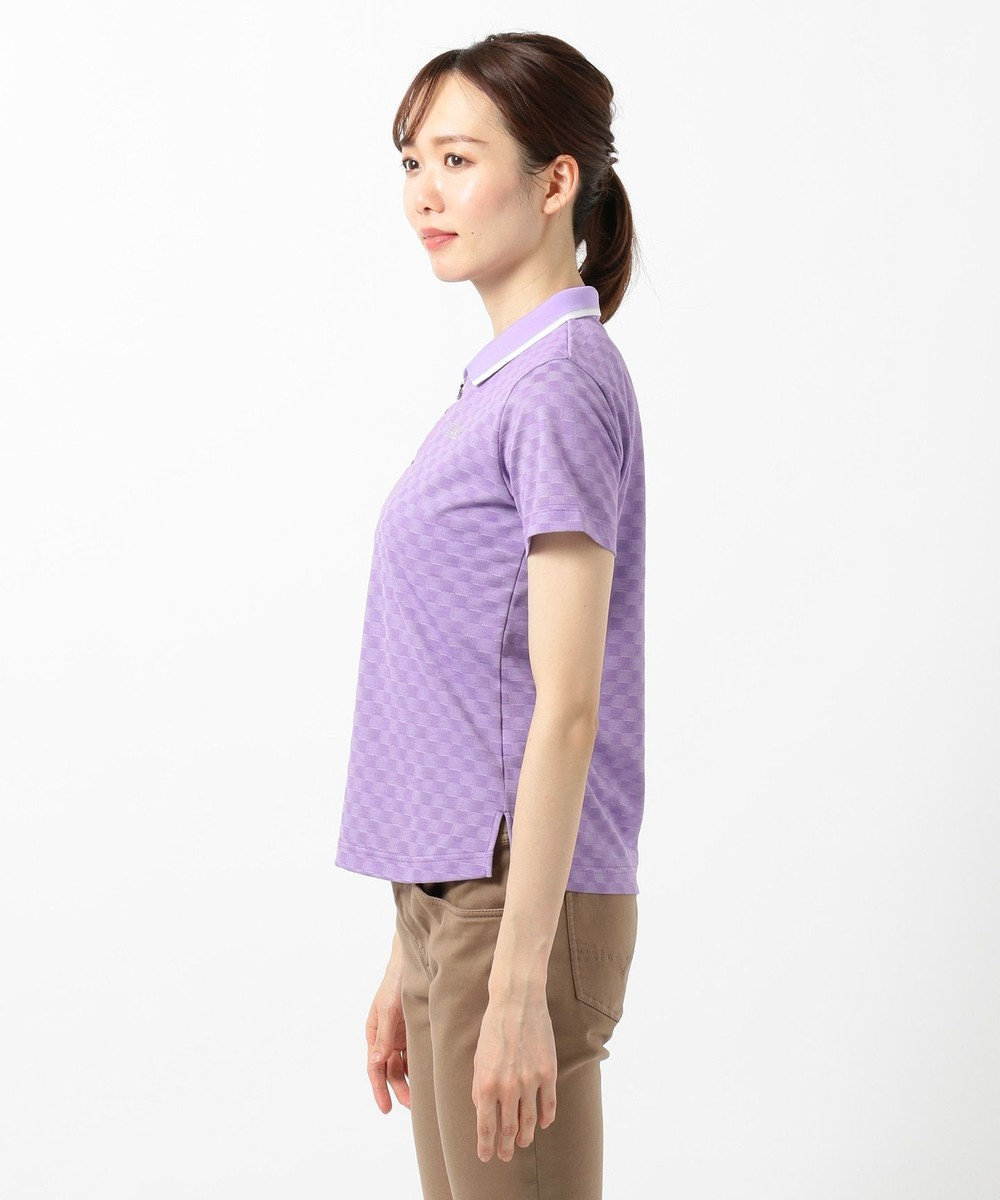 DAKS GOLF 【WOMEN】ラインストーンロゴ入り ジャガード ポロシャツ パープル系