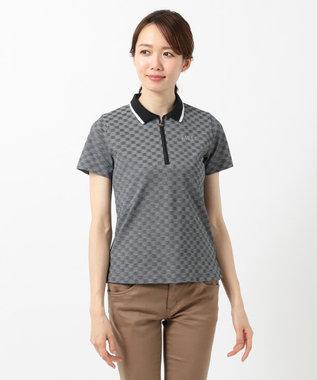 DAKS GOLF 【WOMEN】ラインストーンロゴ入り ジャガード ポロシャツ ブラック系