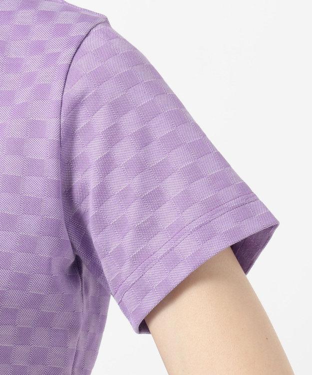 DAKS GOLF 【WOMEN】ラインストーンロゴ入り ジャガード ポロシャツ