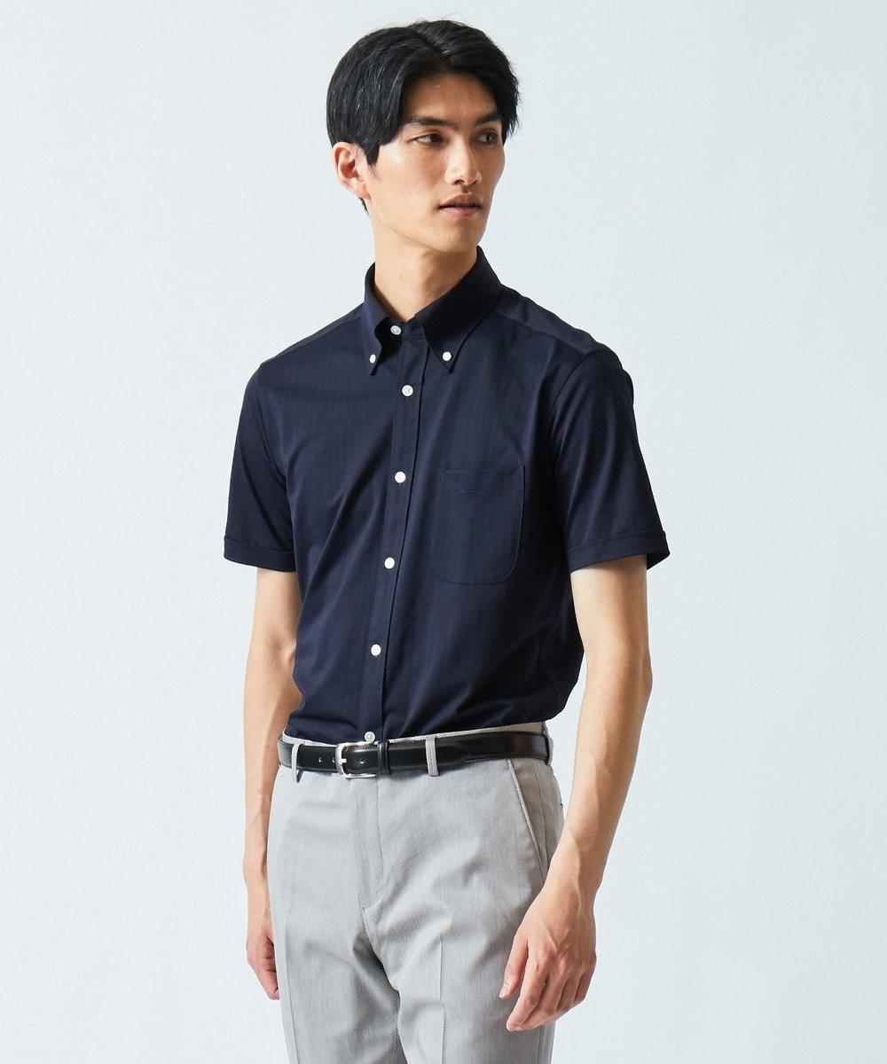 GOTAIRIKU 【COOL BIZ / リモートワーク】クールマックス  へリンボン ポロシャツ ネイビー系1
