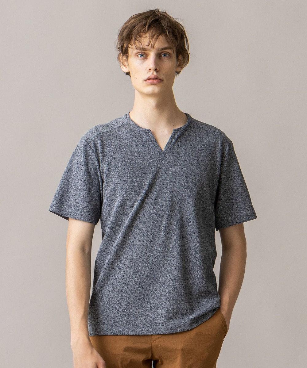 JOSEPH MEN ペーパーノイズメランジ キーネックTシャツ ライトグレー系