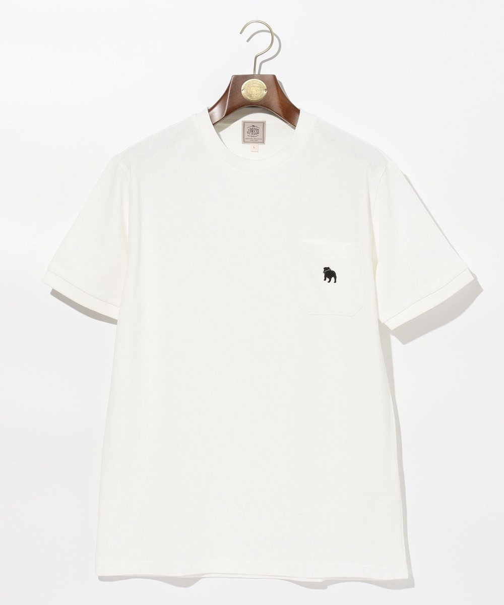 J.PRESS MEN アメリカンコットン鹿の子 エンブレムTシャツ ホワイト系
