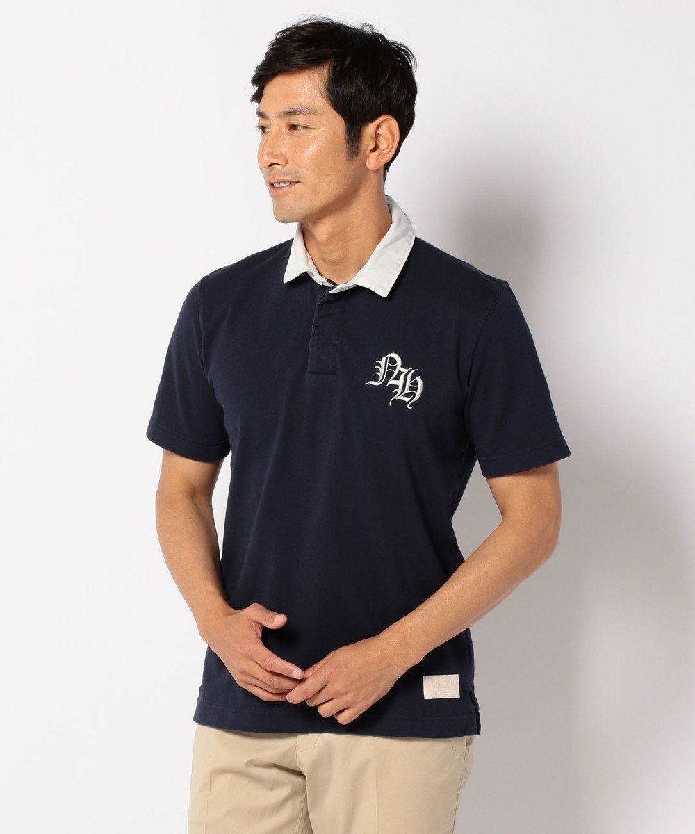 J.PRESS MEN スタンドラガー ポロシャツ ネイビー系