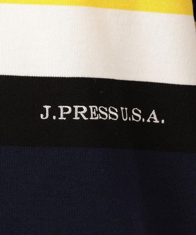 J.PRESS MEN 天竺パネルボーダー ラグジャー半袖シャツ