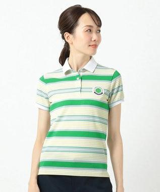 23区GOLF 【WOMEN】ベアかのこマルチボーダー シャツ グリーン系1