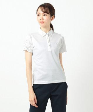 23区GOLF 【WOMEN】【吸汗速乾】カノコスカラップ刺繍 シャツ ホワイト系