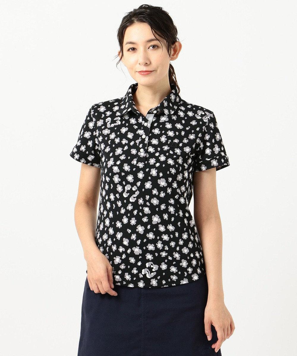 23区GOLF 【WOMEN】【吸汗速乾/UV】レオパード柄 プリントカノコシャツ ブラック系5