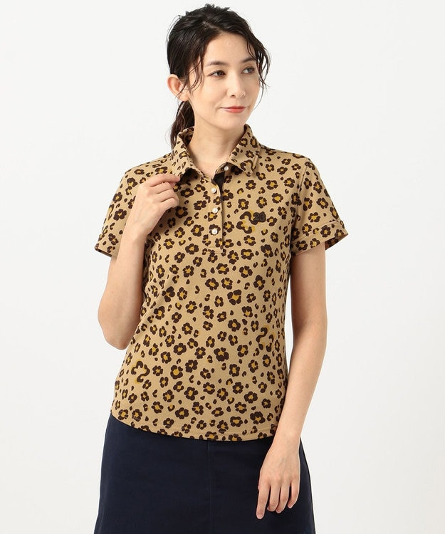 23区GOLF 【WOMEN】【吸汗速乾/UV】レオパード柄 プリントカノコシャツ
