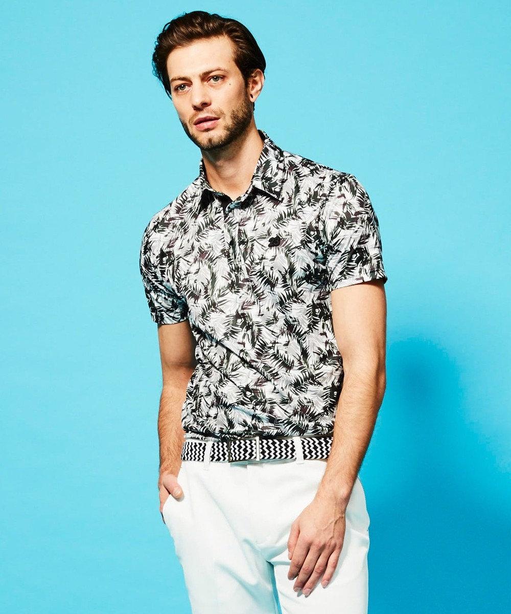 23区GOLF 【MEN】【UV/吸汗速乾】リーフ柄 プリントシャツ ライトグレー系5