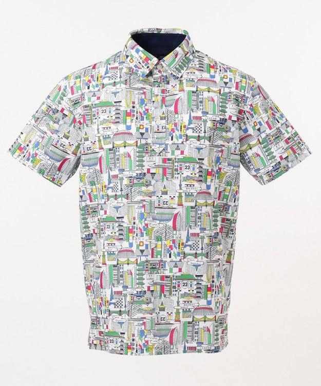 23区GOLF 【MEN】【UV/吸汗速乾】TOKYO MAP柄 シャツ