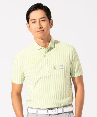 23区GOLF 【MEN】【吸水速乾 / UVケア】キャンディストライプ柄 ポロシャツ 黄緑系2