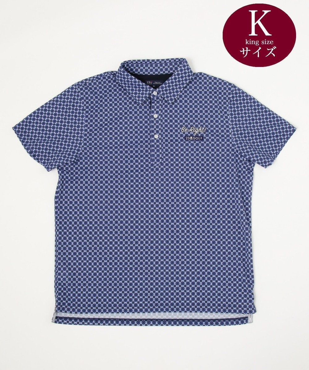 23区GOLF 【キングサイズ】花小紋柄プリント ポロシャツ ダルブルー系5