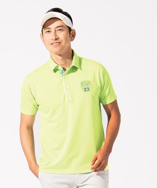 23区GOLF 【MEN】【吸水速乾 / UV】トランスクールカノコ ポロシャツ 黄緑系