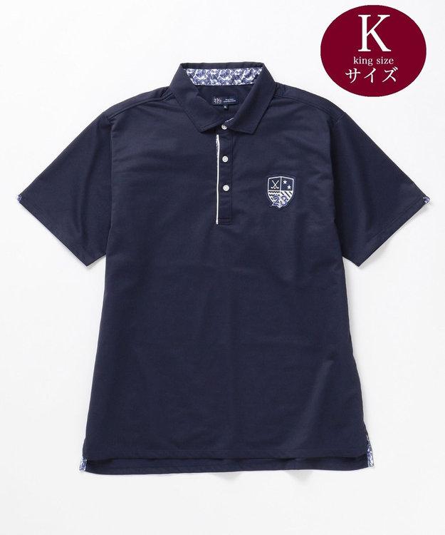 23区GOLF 【キングサイズ】【吸水速乾 / UV】トランスクールカノコ ポロシャツ ネイビー系