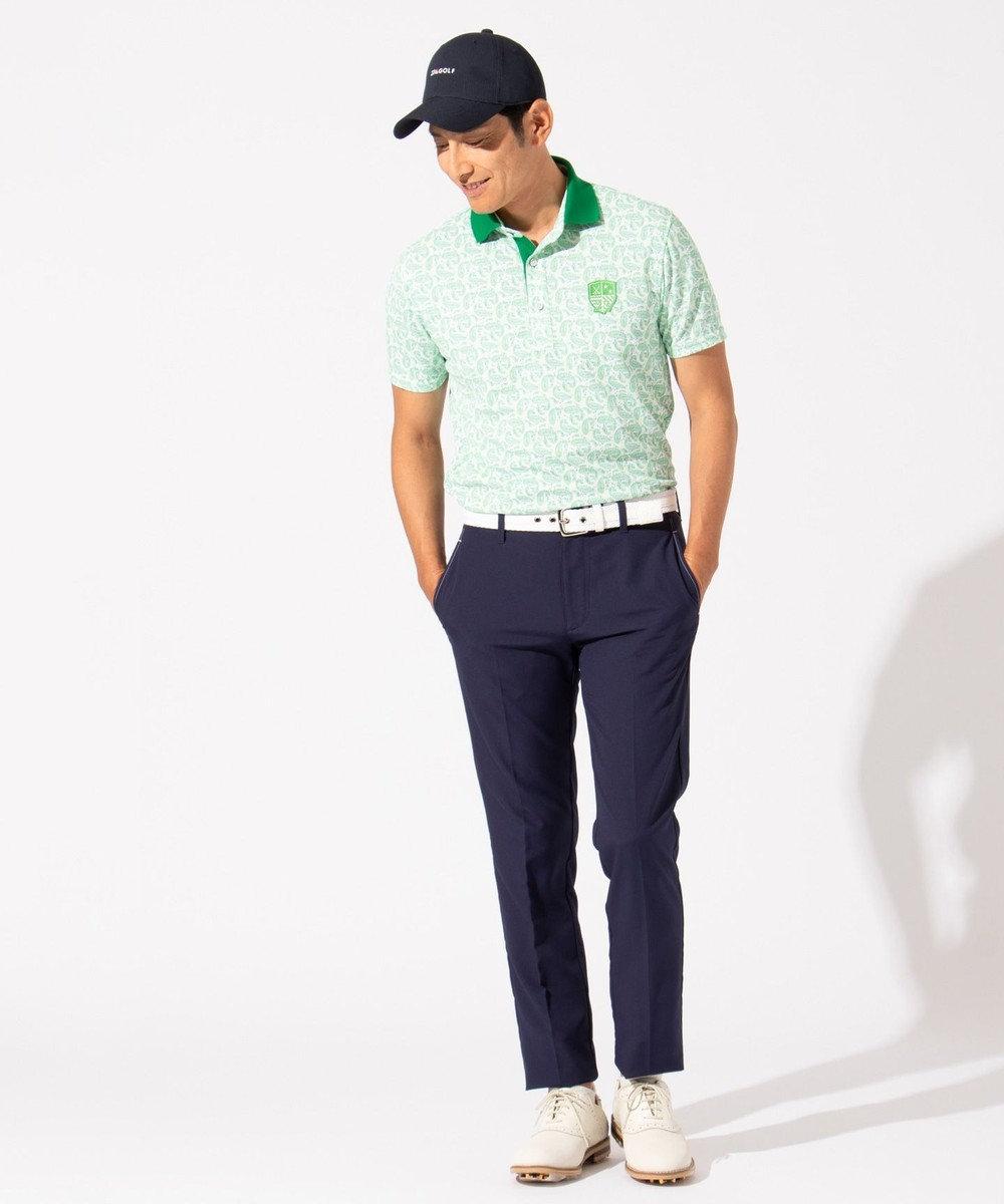 23区GOLF 【MEN】【吸水速乾 / UV】ペイズリープリント ポロシャツ オレンジ系5