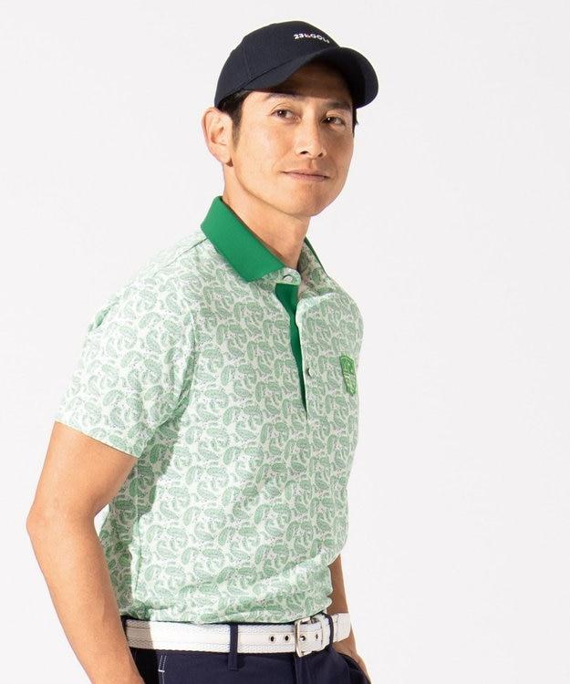 23区GOLF 【MEN】【吸水速乾 / UV】ペイズリープリント ポロシャツ