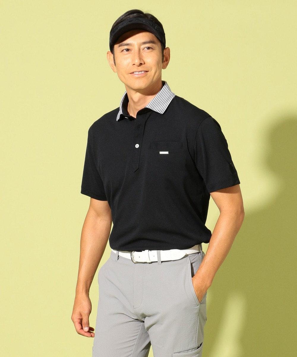 23区GOLF 【MEN】【吸水速乾】【UV】メッシュカノコ ポロシャツ ブラック系