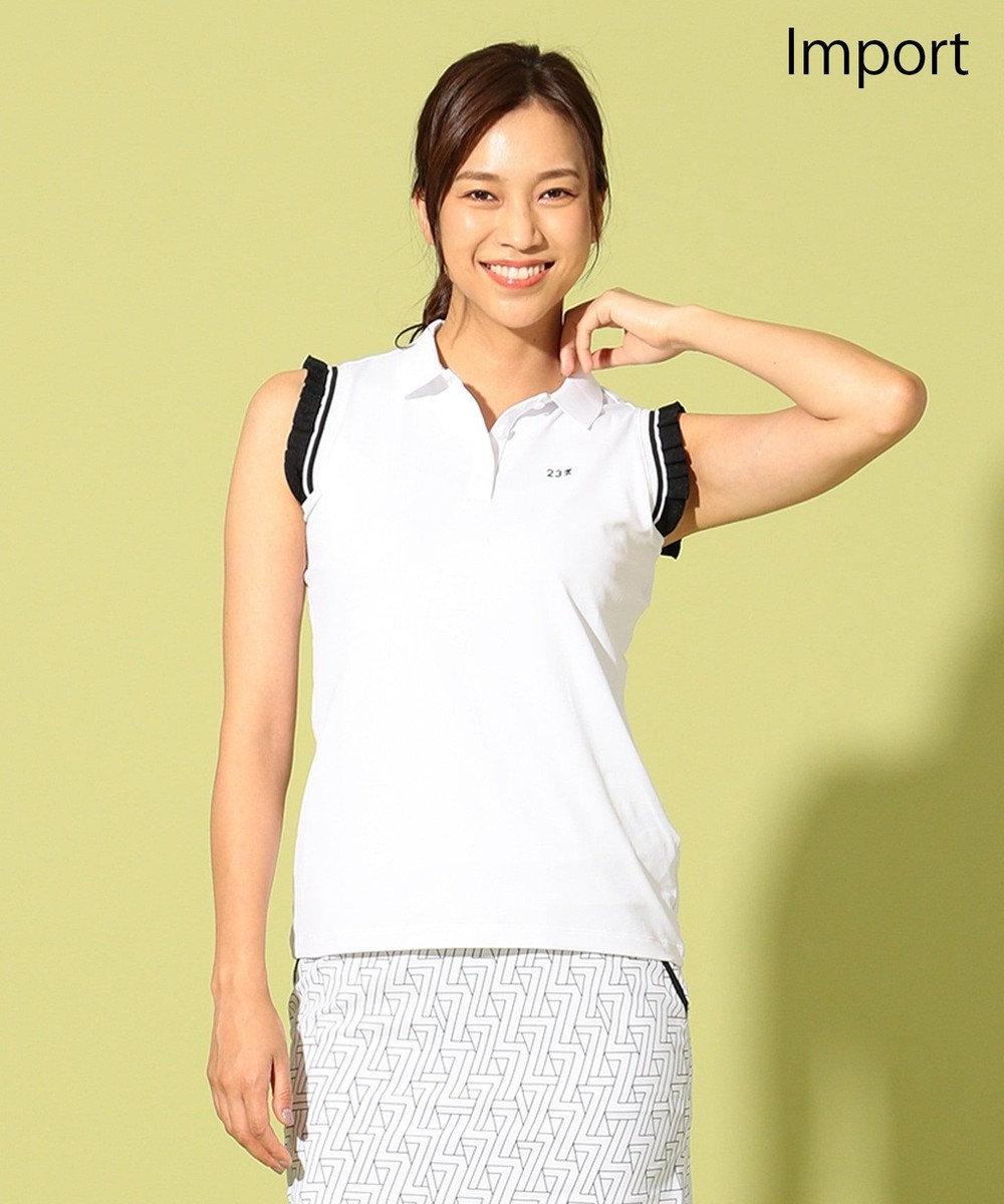 23区GOLF 【WOMEN】【IMPORT】袖ニットパッチスリーブレス ポロシャツ ホワイト系