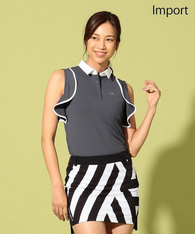 23区GOLF 【WOMEN】【IMPORT】フリルノースリーブ ポロシャツ