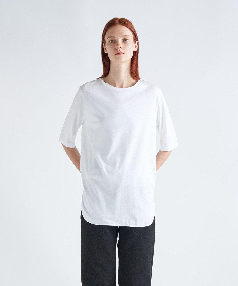 ATON SUVIN 60/2 | ラウンドヘムTシャツ WHITE