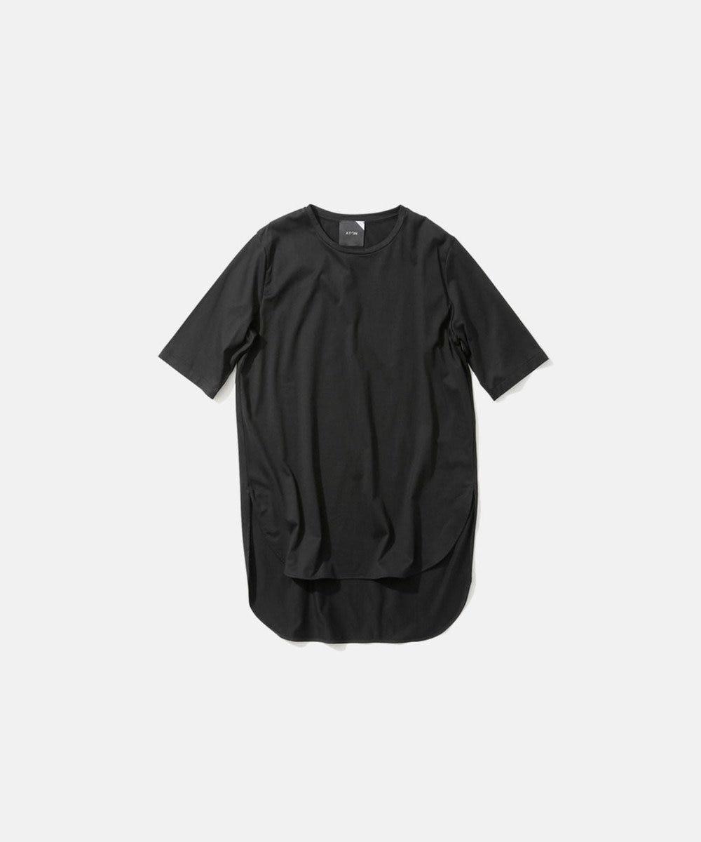 ATON SUVIN 60/2 | ラウンドヘムTシャツ BLACK