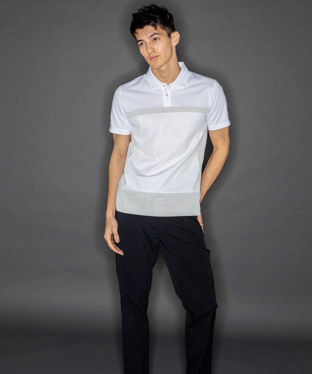CK CALVIN KLEIN MEN メッシュレイヤー クールピケ ポロシャツ ホワイト系