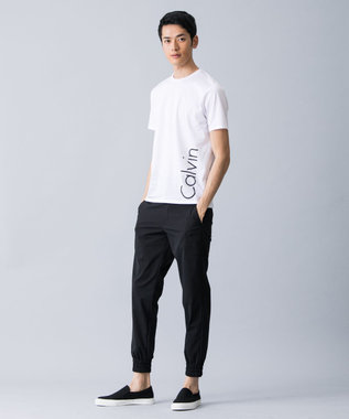CK CALVIN KLEIN MEN 【2017春のWEB限定】CalvinロゴTシャツ カットソー (縦ロゴ) ホワイト系