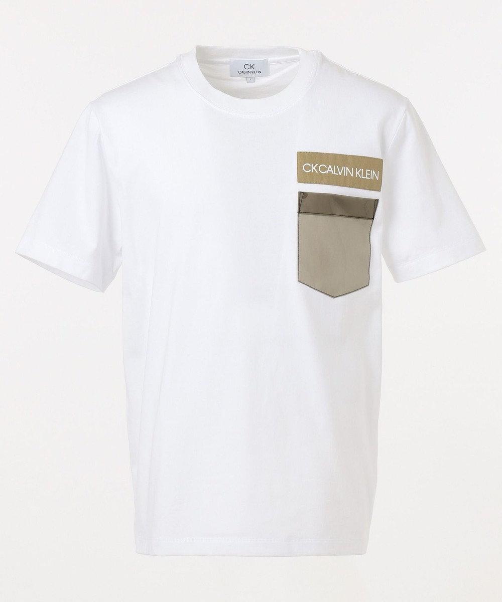 CK CALVIN KLEIN MEN 【ロゴ】ビニールポケット ロゴ Tシャツ ホワイト系