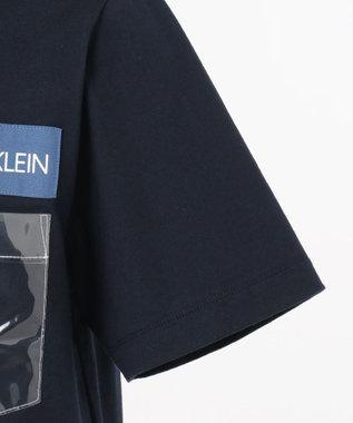 CK CALVIN KLEIN MEN 【ロゴ】ビニールポケット ロゴ Tシャツ ネイビー系