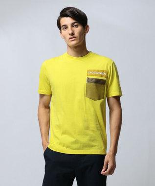 CK CALVIN KLEIN MEN 【ロゴ】ビニールポケット ロゴ Tシャツ イエロー系