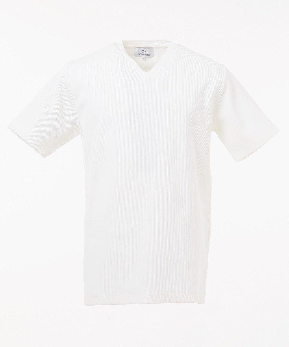 CK CALVIN KLEIN MEN 【定番】リップルグログランストライプ Tシャツ ホワイト系